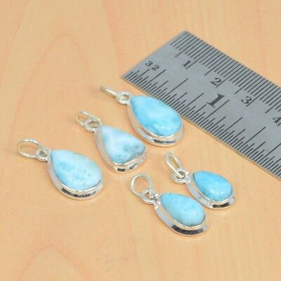 Wholesale Lot 5Pc 925 Solid Sterling Silver Natural Blue Larimar Pendant Lot