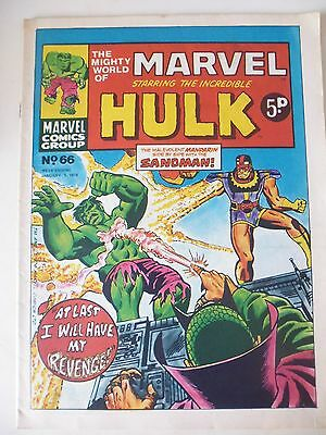 MIGHTY WORLD OF MARVEL WEEKLY ISSUE # 66.  JAN.5th 1974. VERY HIGH GRADE