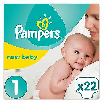 Pampers New Baby Nappies Size 1 Carry Pack Wetness Indicator 2kg-5kg Pack of 22