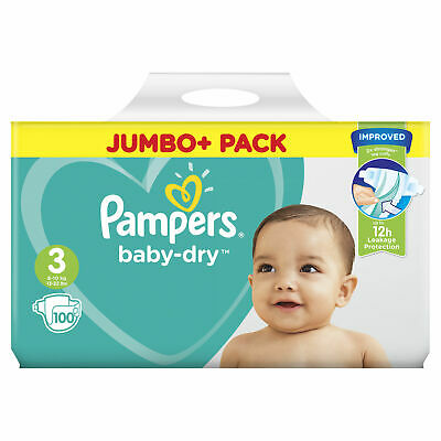 Pampers Baby Dry Nappies Size 3 Jumbo+ Pack Flexible Sides 5kg-9kg Pack of 100