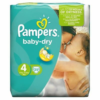 Pampers Baby Dry Nappies Size 4 Carry Pack Flexible Sides 8kg-16kg Pack of 25