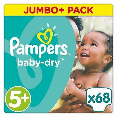 Pampers Baby Dry Nappies Size 5+ Jumbo+ Pack Flexible Sides 13kg-25kg Pack of 68