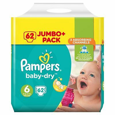 Pampers Baby Dry Nappies Size 6 Jumbo+ Flexible Sides Fast Dry-Layers Pack of 62