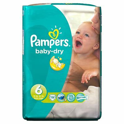 Pampers Baby Dry Nappies Size 6 Carry Pack Flexible Sides 15kg+ XL Pack of 19