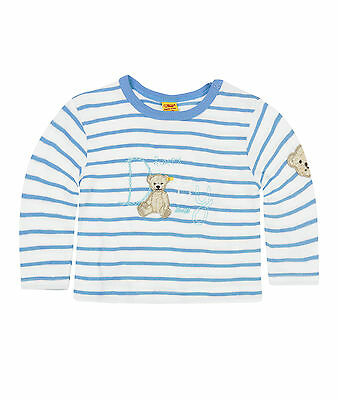 Steiff Newborn Summer Colour Shirt Milky Blue Striped Size 56 - 86 NEW