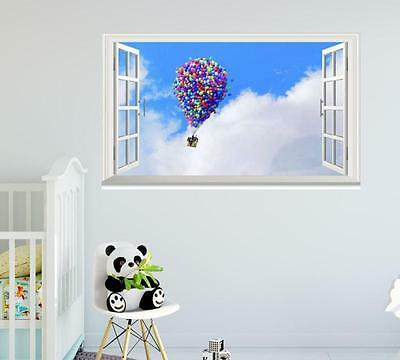 Pixar film sky up Up house clouds cartoon window wall sticker art decal