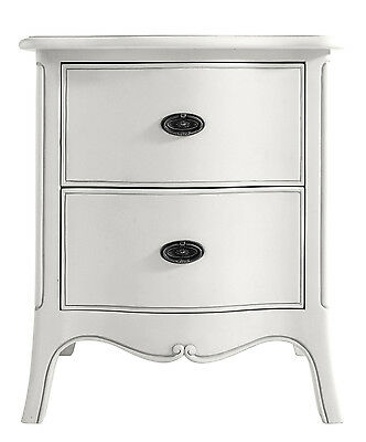 Ava Antique White Hand Carved French Style Bedside Table / Cabinet
