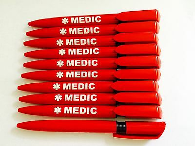 10 Quality Pens Branded MEDIC with Black Ink-Paramedic,Ambulance First Responder