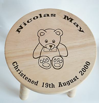 Customised Wooden Milking Stool for Boy, Girl, (Teddy) Christening, Baptism Gift