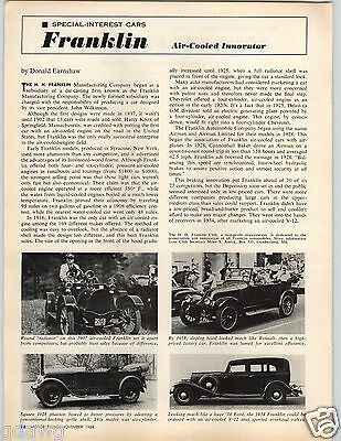 1964 PAPER AD 1907 1918 1928 1934 Franklin Car Auto Automobile Ford Model T 1911
