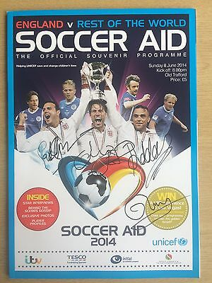 Signed Socceraid 2014 programme by Williams, McGuiness, Bishop and Murs