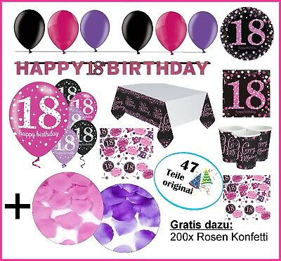pink party deko zum geburtstag servietten zahlen wimpel. Black Bedroom Furniture Sets. Home Design Ideas
