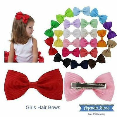 20pcs Girl Boutique Ribbon Hair Bows Alligator Clips Kids Toddlers Children Bow