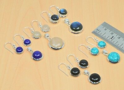 Wholesale 5Pc 925 Solid Sterling Silver Natural Lapis Lazuli Earring-Pendant Lot