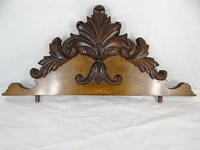 """19 """" Beautiful  Antique French Hand Carved Pediment 19 th - Walnut"""
