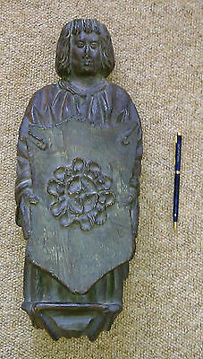 Medieval monk figure carved antique stained oak wood carving plaque, replica