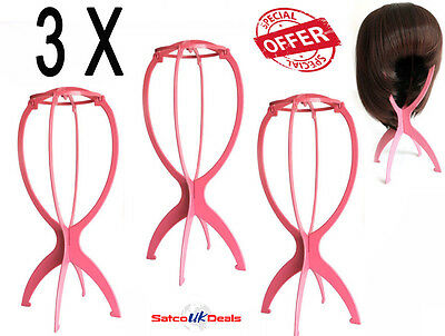 3pcs Foldable Wig Stand Display Tool Mannequin Dummy Head Hat Cap Hair Holder UK