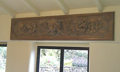 Lion head wall plaque panel plinth deeply carved wood large antique, replica