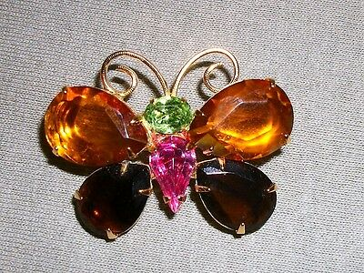 RETIRED SIGNED JOAN RIVERS Gold Tone  Butterfly Brooch-pin Prong Set