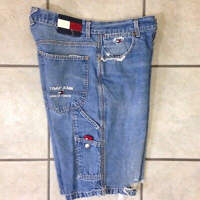 VTG Tommy Hilfiger Carpenter Jeans Shorts Color Block Loop Flag Label Mens 31 OG