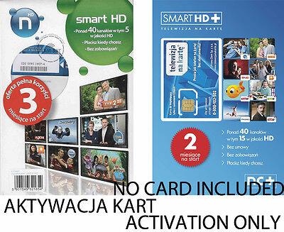 "Activation Card Polish Tv ""Telewizjia Na Karte Nc+ Smart Hd + Polsat,Swiat Hd"""