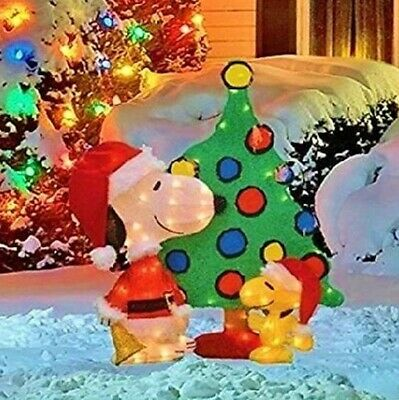 32 lighted snoopy woodstock with tree christmas yard decor new free