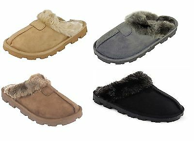 Womens Faux Suede Furry Mules Slipper Ladies Mule Slippers Size UK 3 4 5 6 7 8