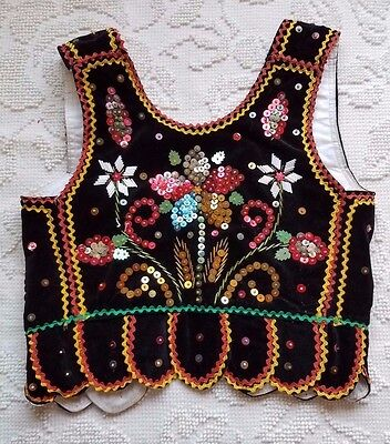 Young Polish girl's Sukiennicki-style black velvet beaded & sequined vest, laced