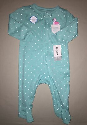 Girls Carters 6 M Months One Piece Pajamas Sleeper Flamingo Green Nwt