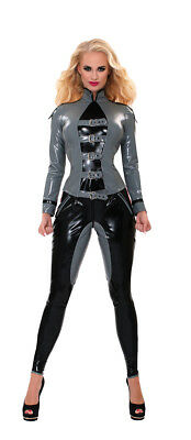 Guilty Pleasure Datex Sergeant Jacke in Grau - Gr. S - XXL - Latex Fetisch