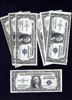 Collection of 7 - 1935A/1935E/1935H $1 Silver Certificates AU to CH CU