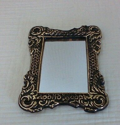 Dollhouse Miniature Ornate Metal Framed Mirror black w/gold highlights