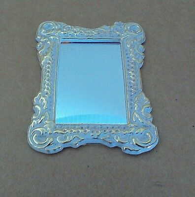 Dollhouse Miniature Ornate Metal Framed Mirror white w/gold highlights 1:12