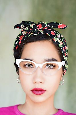 Vintage 1960's Style Cat eye Glasses Rockabilly Two-Toned White And Clear