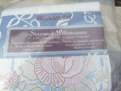 Wonderart Stamped Pillow Cases - Rose design to embroider or fabric paint