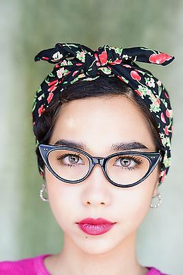 Vintage 1960's Style Cat eye Glasses Rockabilly Ebony Color frames