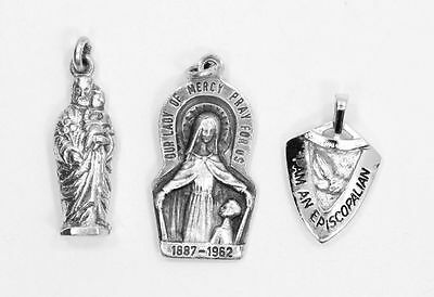 Eye Catching Set of 3 Estate Religious Pendants  in Sterling Silver