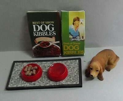 Dollhouse Miniature Basset Hound Dog with food  dishes on mat 2 bags of food,