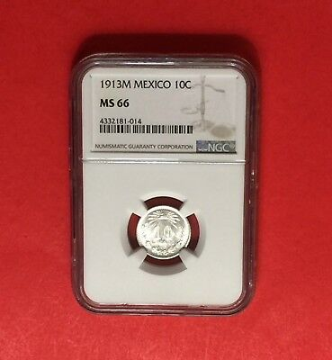 Mexico- Uncirculated 1913-M Silver 10 Centavos ,certified By Ngc Ms-66 .