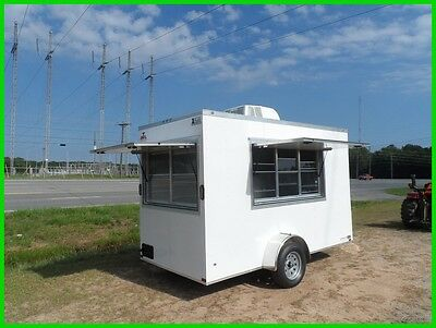 v nose 6x12 enclosed cargo concession trailer  3x6 & 3x5 window New w A/C e pkg