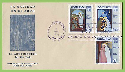 Costa Rica 1975 Christmas set on First Day Cover
