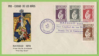 Costa Rica 1973 Christmas set on First Day Cover