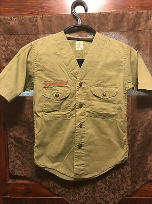 BOY SCOUTS OF AMERICA ~ Youth M/L~ VINTAGE 60s 70s Sanforized S/Sleeve Shirt