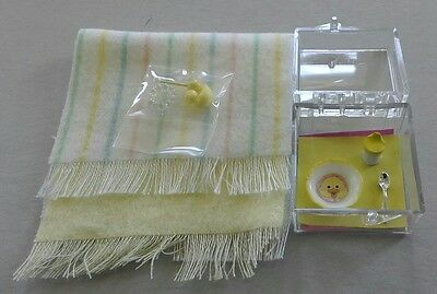 Dollhouse Miniatures 2 - Yellow baby set  blankets toys baby dish & sippy cup
