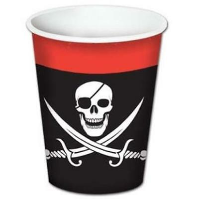 Pirate Red Black 9 oz Hot/Cold Paper Cups 8 Pack Skull Birthday Party Decoration