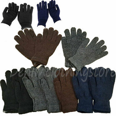 6~12 pair Men Women Winter Warmer Knit Knitted Casual Gloves Stretch Dark Colors