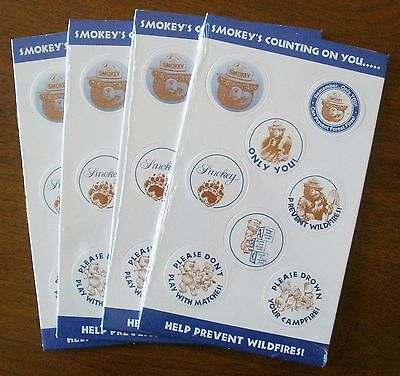 Smokey Bear Pogs   4 Sets on Cards  Mint in Packages