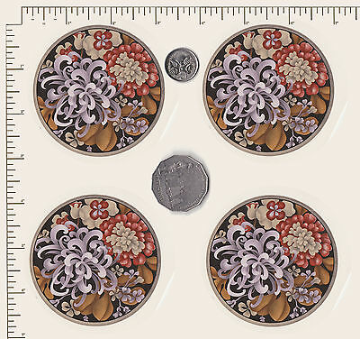 "4 x Ceramic decal. Circle. Flowers Floral  Coaster 3"" (75mm) PD838"
