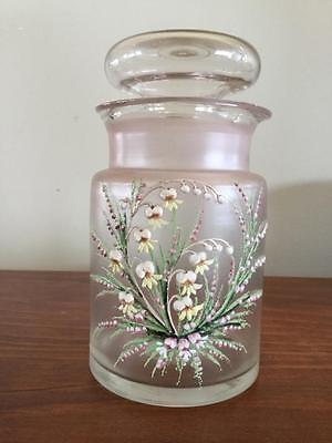 Antique Jar Pink Frosted Glass Hand Enamelled Flowers