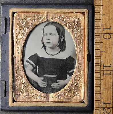 Antique 1/9 Ninth Plate Ambrotype Photo in Union Case of Girl w/ Book, Necklace